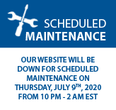 Our website will be down for scheduled maintenance on Thursday, July 9th, 2020 From 10PM to 2AM EST